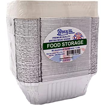50 HDIUK Aluminium foil food containers, Freezer safe Storage/Takeaway / Lunch. Store Curry, Chilli, chinese foods and more (No 2 size 142 x 116 x 41mm)