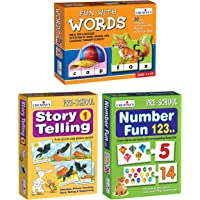 Creative Educational Aids P. Ltd. - CRE0639 Fun with Words Puzzle (Multi-Color, 90 Pieces) & Number Fun 123 Puzzle…