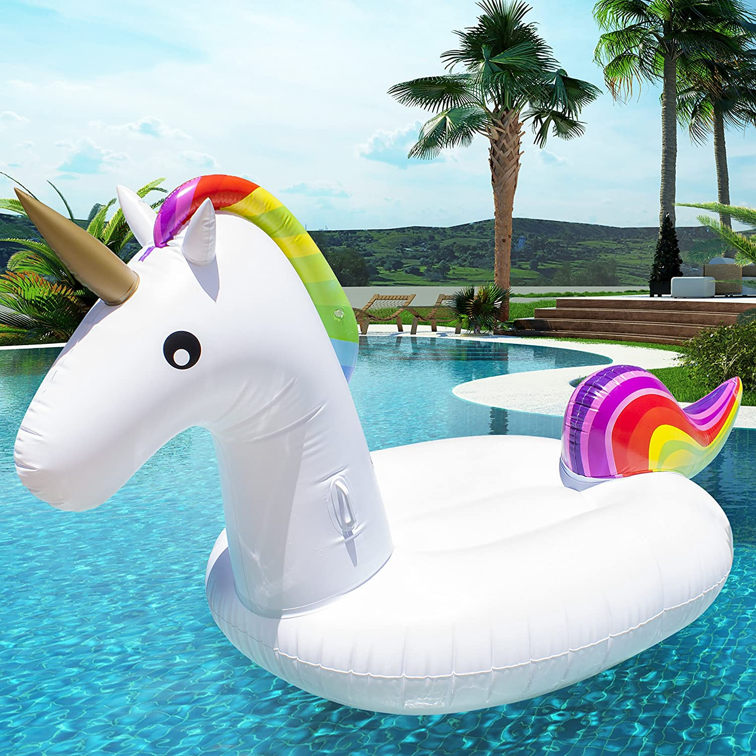Pacago Giant Inflatable Flamingo Pool Float Outdoor Swimming