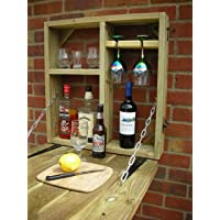 Wooden Wall Outdoor Bar. Drinks, Wine, Beer And Gin. Garden Party. Home Bar