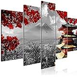 decomonkey   Impression sur Toile intissée Campagne 200x100 cm   5 Parties   Tableau Mural Image sur Toile Photo Images Motif