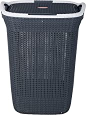 Nayasa Plastic Multipurpose Laundry Basket, Grey