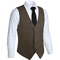 HISDERN Vestito da Cerimonia Nuziale Convenzionale da Uomo di 5 Bottoni Gilet di Lana Gilet di Tweed a Spina di Pesce…