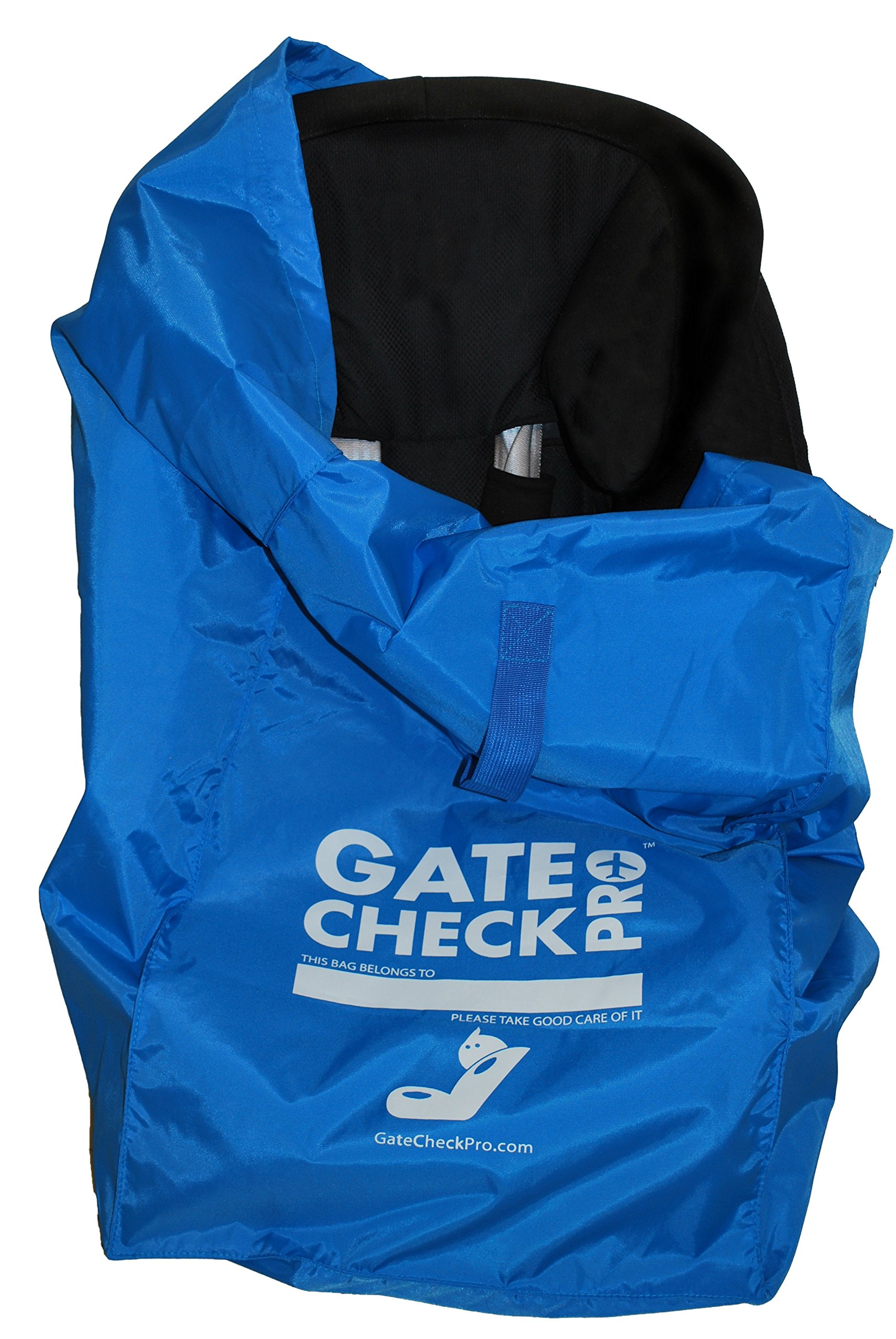 Gate Check PRO Car Seat Carrier & Travel Bag | Ultra Durable & Lightweight Ballistic Nylon | One Size Fits Most | Inc. Infant, Toddler & All-in-one Convertible Models | Perfect for Stress Free Travel!  GATE CHECK PRO: luxury protection for your child - avoid germs, grease, grime and weather in the cargo areas and tarmac of airports. If boarding agents think it's a good idea, you can be sure that this is one! They have seen everything that can happen to your car seat in there! NYLON BALLISTIC SUSTAINABLE: This is the same nylon used by the armed forces to protect troops before the invention of Kevlar. There simply is no better carry bag for compact, lightweight car seat. Constructed to very high standards - we are parents and understand how the well-being of your children you care. A clean car seat and well adjusted = happy kids! PEACE OF MIND: Arrive at your destination with one less worry - no risk that the car rental company gives you a poorly adjusted or dirty seat. Traveling with children is stressful enough without the additional worry! 1