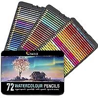 Zenacolor Aquarellstifte - 72 Aquarell Farbstifte mit Pinsel in Metallhülle - einzigartige, wasserlösliche Buntstifte…