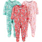Simple Joys by Carter's Bebé Niñas pijama con pie cerrado de manga larga, Pack de 3