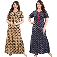 YKI® Women's / Girls Cotton Fabric Beautiful Print Nighty / Nightgown / Nightwear /Nightdress with Pocket ( Pack of 2…