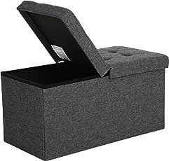 SONGMICS Faltbare Sitzbank Sitztruhe Halbdeckel Seitlich klappbar Max. Statische Belastbarkeit 300 kg Bezug aus Leinenimitat, MDF-Platte