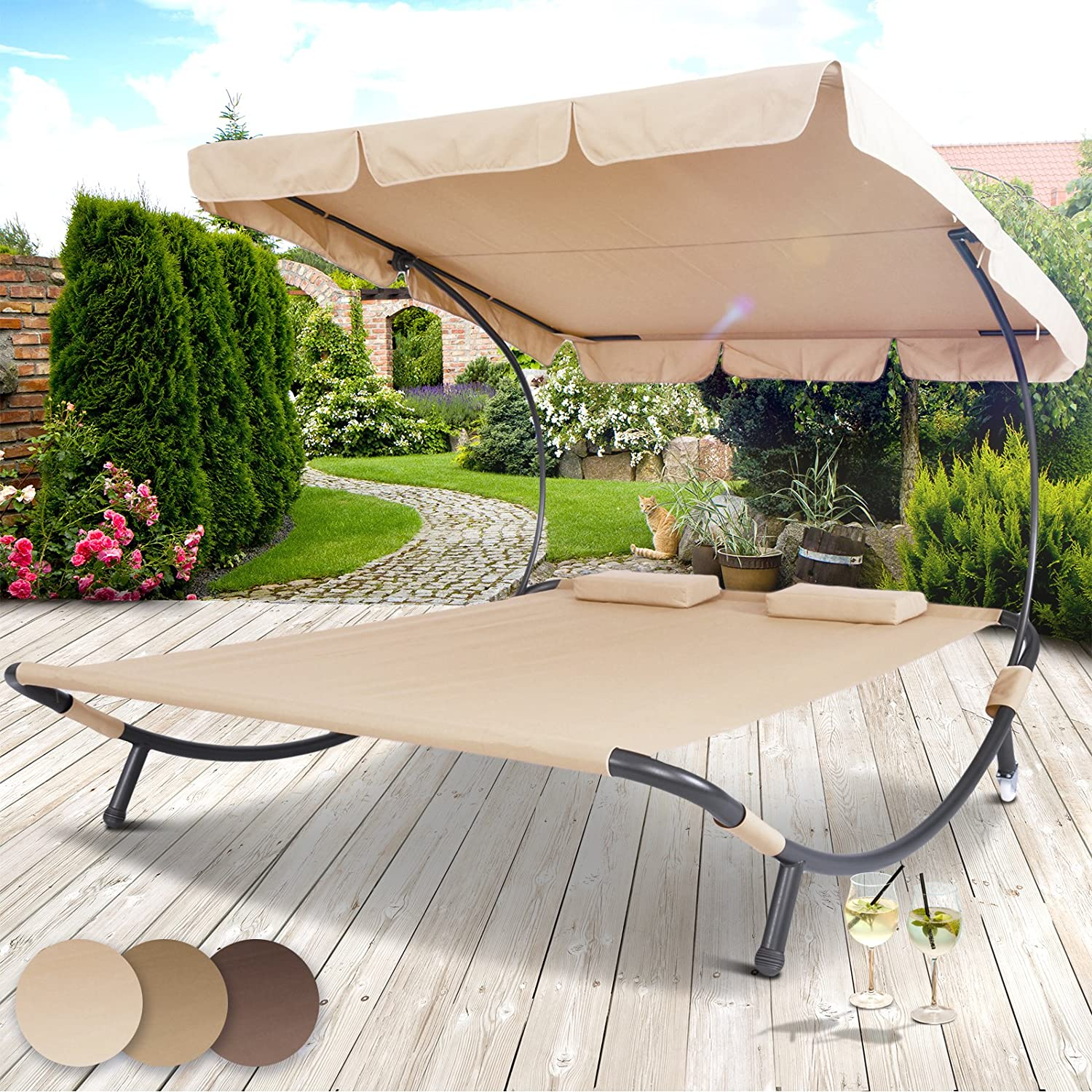 miadomodo sun lounger double day bed hammock chaise outdoor shade canopy garden furniture in different colours amazoncouk garden outdoors - Garden Furniture Colours