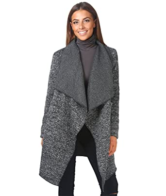KRISP 5495-CHA-S: Fleece Lined Waterfall MARL Cardigan: Amazon.co ...