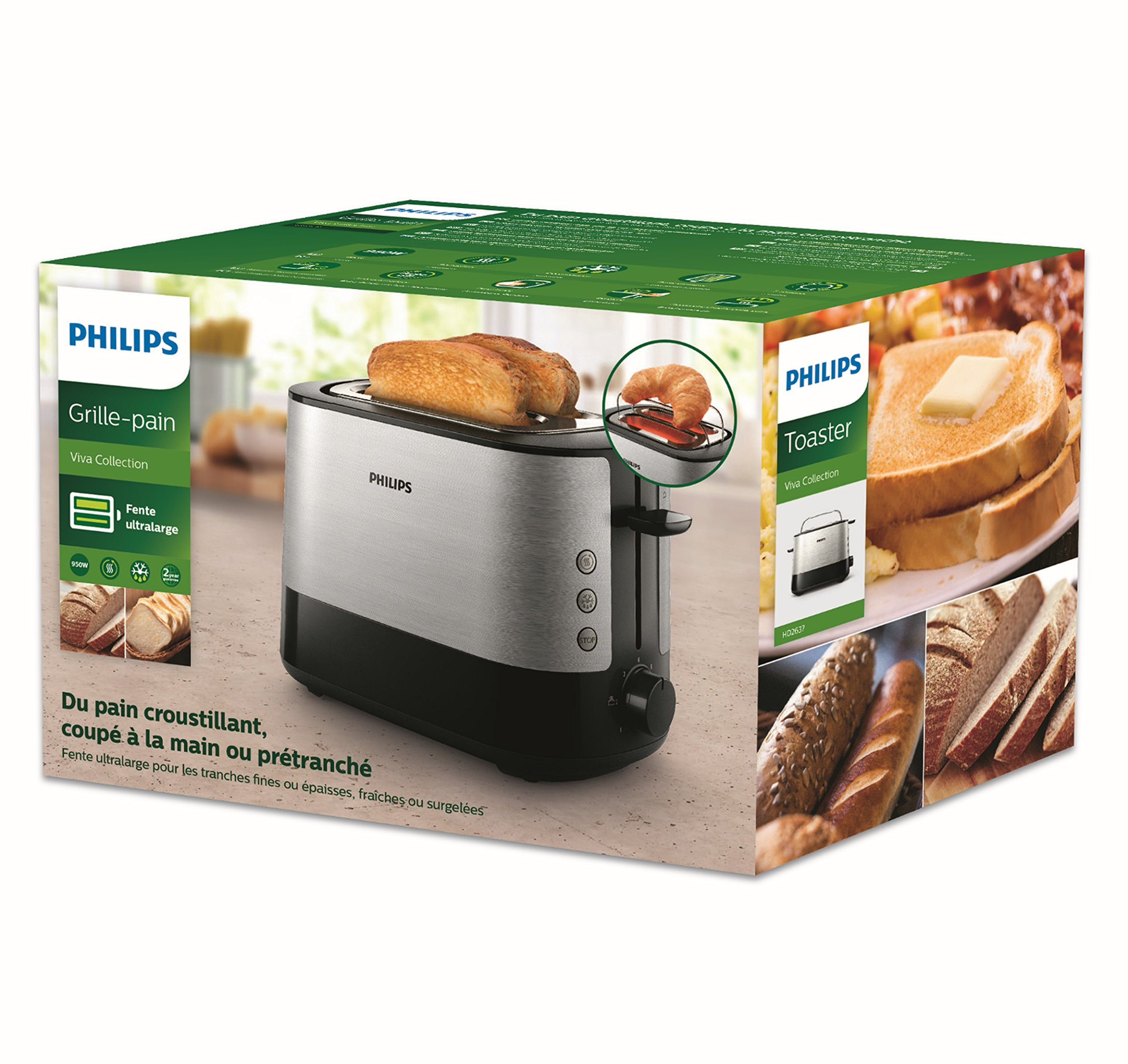 Philips-HD263790-Toaster-7-Stufen-Brtchenaufsatz-Stopp-Taste-1000-W