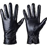 QNLYCZY Guanti in vera pelle di montone per donna, inverno caldo rivestimento in cashmere touchscreen Texting Guanti da motoc