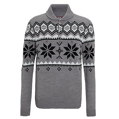 Christmas Shop Mens Shawl Collar Knitted Fairisle Design Jumper ...
