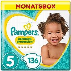 Pampers Premium Protection Windeln, Gr.5 Junior, 11-16kg, Monatsbox, 1er Pack (1 x 136 Stück)