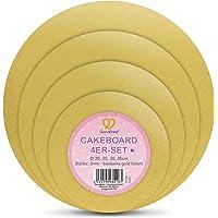 GoodBake Lot de 4 planches à gâteaux dorées (Ø 20 + 25 + 30 + 35 cm) – Extra stable : 3 mm – Film des deux côtés pour…