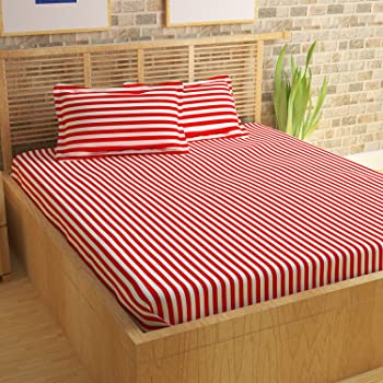 Story@Home Bedsheet for Double Bed With 2 Pillow Covers Combo Set, 100% Cotton - Magic Series, 152 TC, Stripes (Red and White)