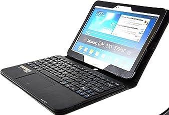 MQ - Galaxy Tab 3 10.1 Bluetooth Tastatur Tasche mit Multifunktions-Touchpad | Hülle mit Bluetooth Tastatur und integriertem Touchpad für Samsung Galaxy Tab 3 10.1 WiFi GT-P5200, WiFi GT-P5210, LTE GT-P5220 | Layout: Deutsch | Schwarz