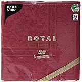 Papstar 50 Serviettes de Table Collection Royal - pli 1/4 - - 40x40cm - Ornements - Bordeaux