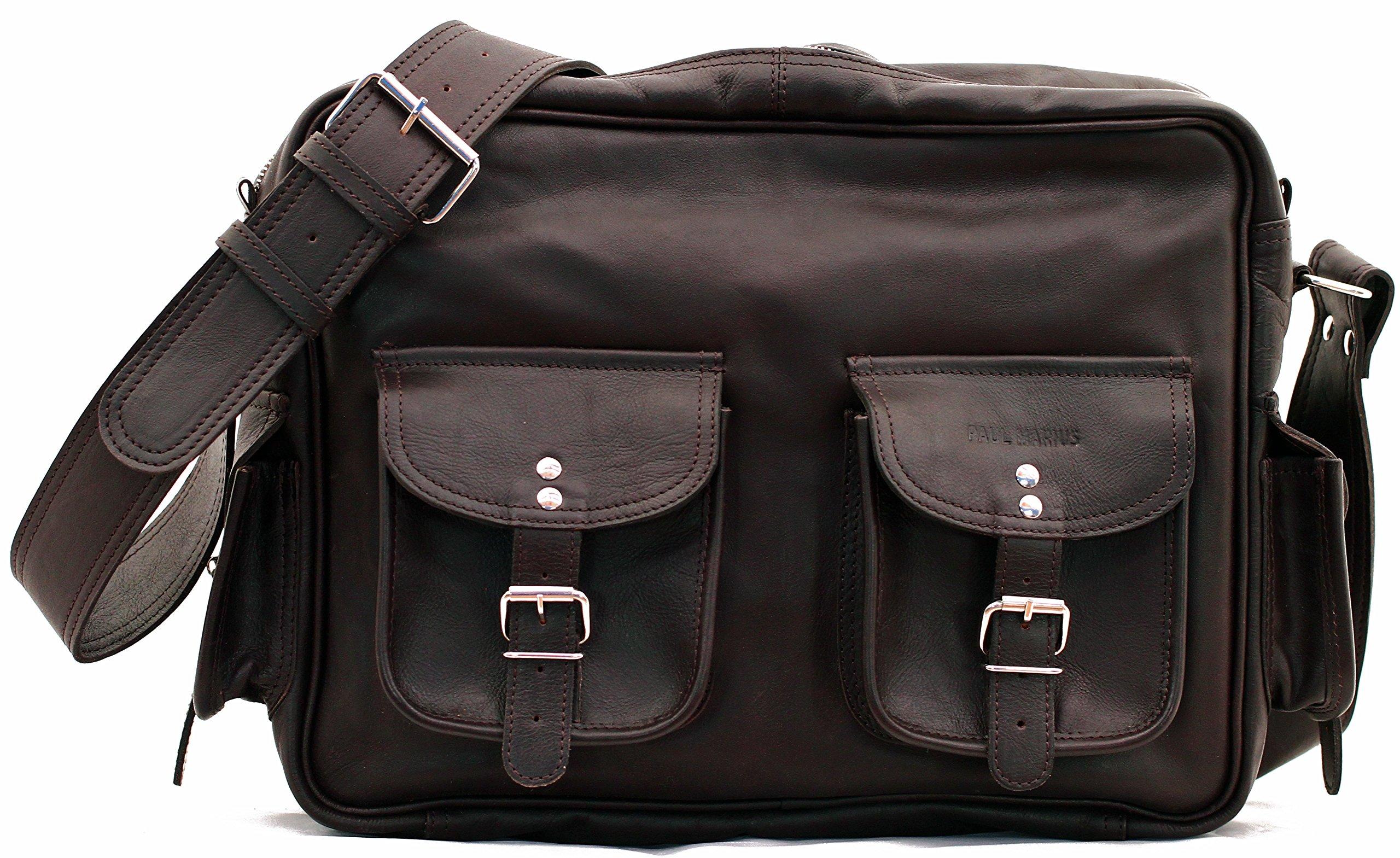 91Ekh2OocLL - PAUL MARIUS LE MULTIPOCHES INDUS, Bolso bandolera de cuero, estilo vintage, bandolera de cuero, bolso con bolsillos…