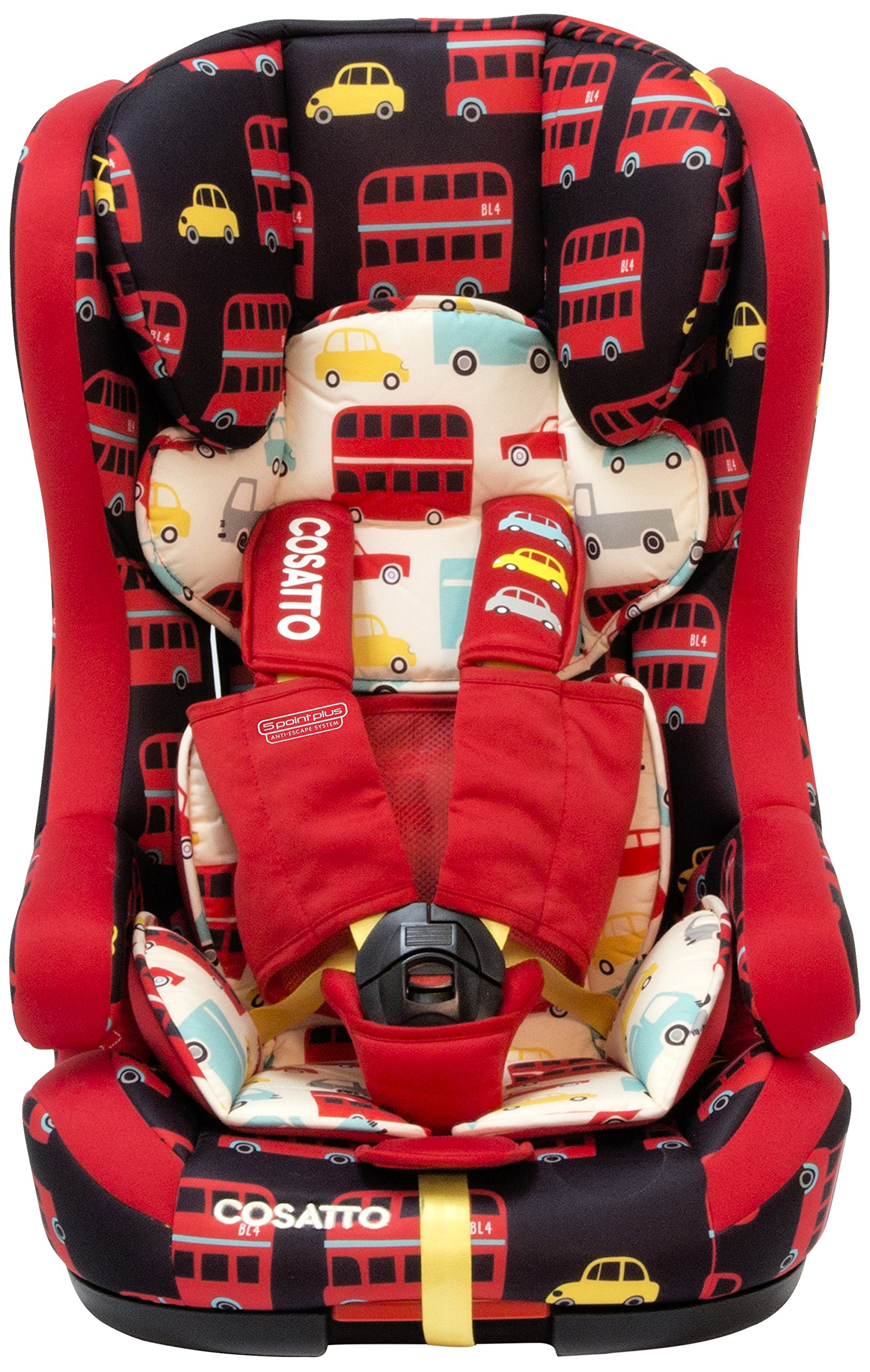 Cosatto Hubbub Isofix Car Seat Group 1 2 3, 9-36 kg, Hustle Bustle Cosatto Hubbub's that exceptional creature - a group 123 car seat with ISOFIX; this means you can just click and go-no reinstalling; suitable from 9 kg to 36 kg (group 123) Hubbub incudes patented five point plus anti-escape system, reduces harness escapes by 90 percent Side impact protection, with six position headrest; hubbub grows with your child; out pop-off squishy seat liner grows too; it is also reversible 1