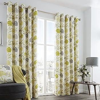 100 inch curtains. Fusion Karsten Floral Print 100% Cotton Eyelet Lined Curtains, Lime, 66 X 72 Inch 100 Curtains S