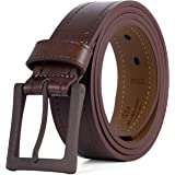 Men's Belt, 100% Leather Casual Belt, Looks Great with Jeans, Khakis, Dress - With Classic Single Prong Buckle