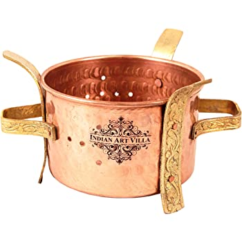 Indian Art Villa Copper and Brass Food Warmer (3.3-inch)