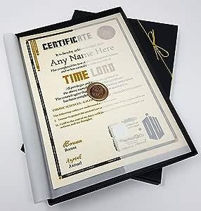 Deluxe Doctor Who Time Lord certificat dans une luxueuse boîte cadeau–personnalisé avec le nom de votre choix