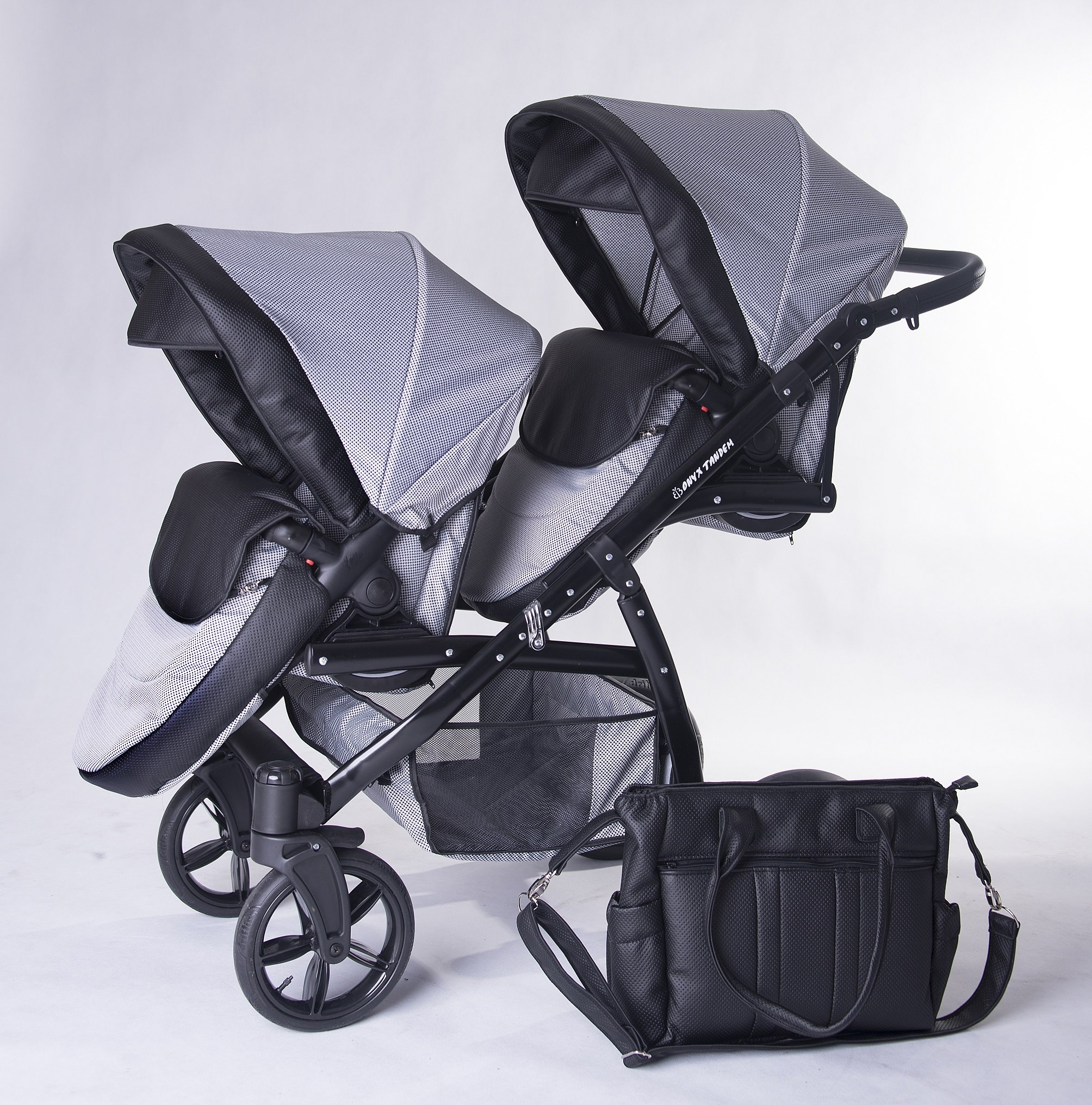 Twins pram 3in1: 2 carrycots + 2 buggies + 2 car seats + 2 ISOFIX + accesories. Grey + black ecoleather. BBtwin double pram Berber Carlo Directly from factory, guarantee color: grey + Mint, Made in the European Union, according to the standards PN-EN 1888 Includes: 2Maxi-Cosi + 2chairs + 2Car Seats group 0+ isofix 2bases + Bag + 2Plastics, rain + 2nets + 2x Baby safety + 2Bars for the chairs. Dimensions: Length with two Maxi-Cosi: 134cm Width of the car chassis: 62cm folded: 89X 62X 30cm wheeled chassis with chairs/Maxi-Cosi Weight: 17kg, Weight: 9kg, handlebar height: 75cm to 105cm, tote bag inside: 79X 33cm, Chair: 93X 37cm 3