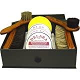 DELARA Kit Exclusif de Cirage à Chaussures, composé de 9 pièces dans Un Coffret Noir avec Lettres d'or