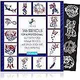 INGALA Premium sjablonenset - 146 kunstzinnige glitter tattoo-sjablonen voor kinderen, tieners en volwassenen. Te gebruiken a