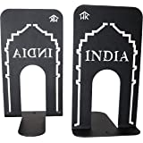 HeavenlyKraft Office Bookends Library Bookend India Gate Design Metal Bookends for Office & Library, Black Color, 7 Inch Tall