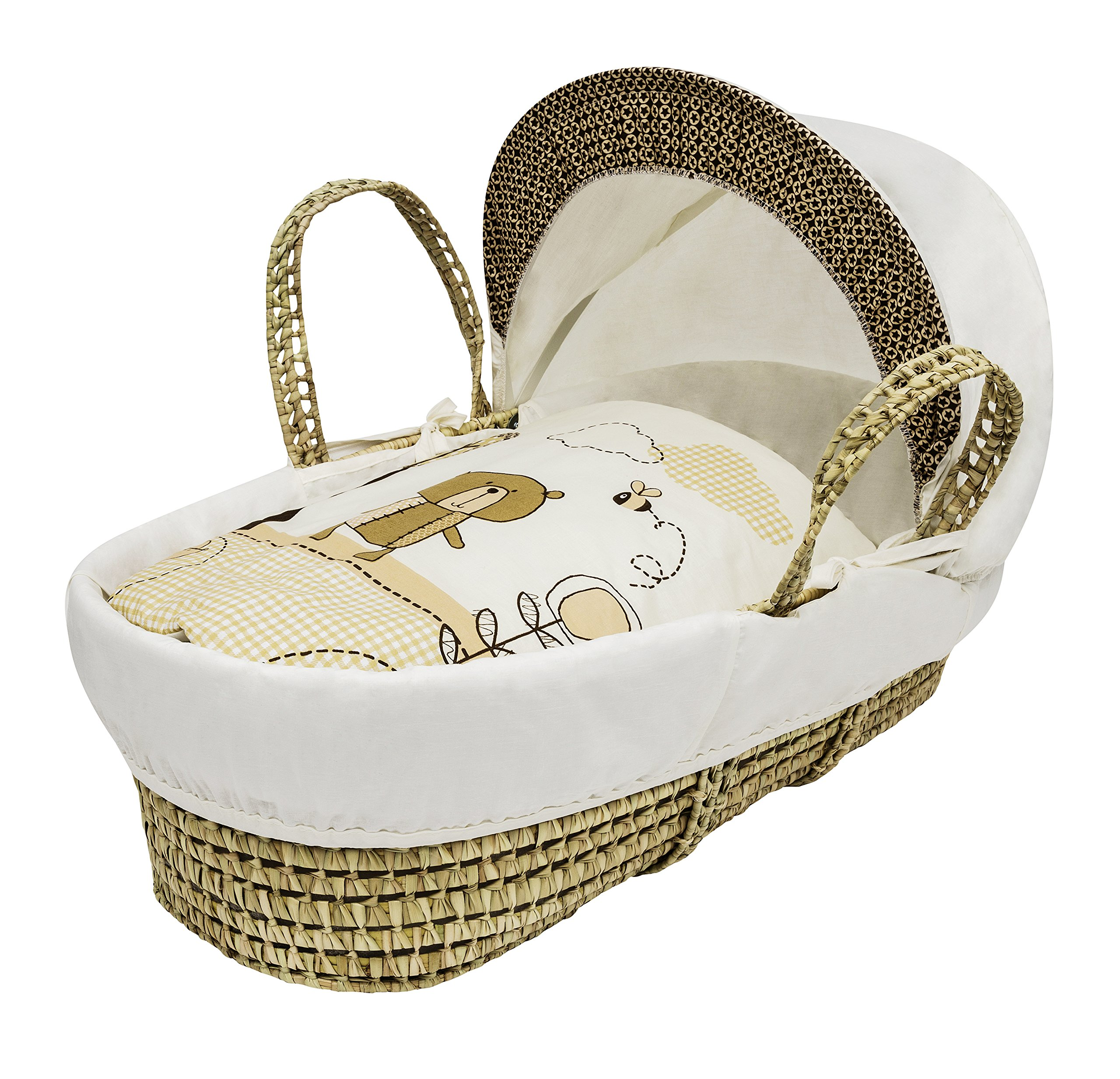 Kinder Valley Tiny Ted Moses Basket, Cream  Suitable from new-born for up to 9kg. This Tiny Ted bedding is made from easy care poly-cotton. Washable, water resistant and breathable mattress. 1
