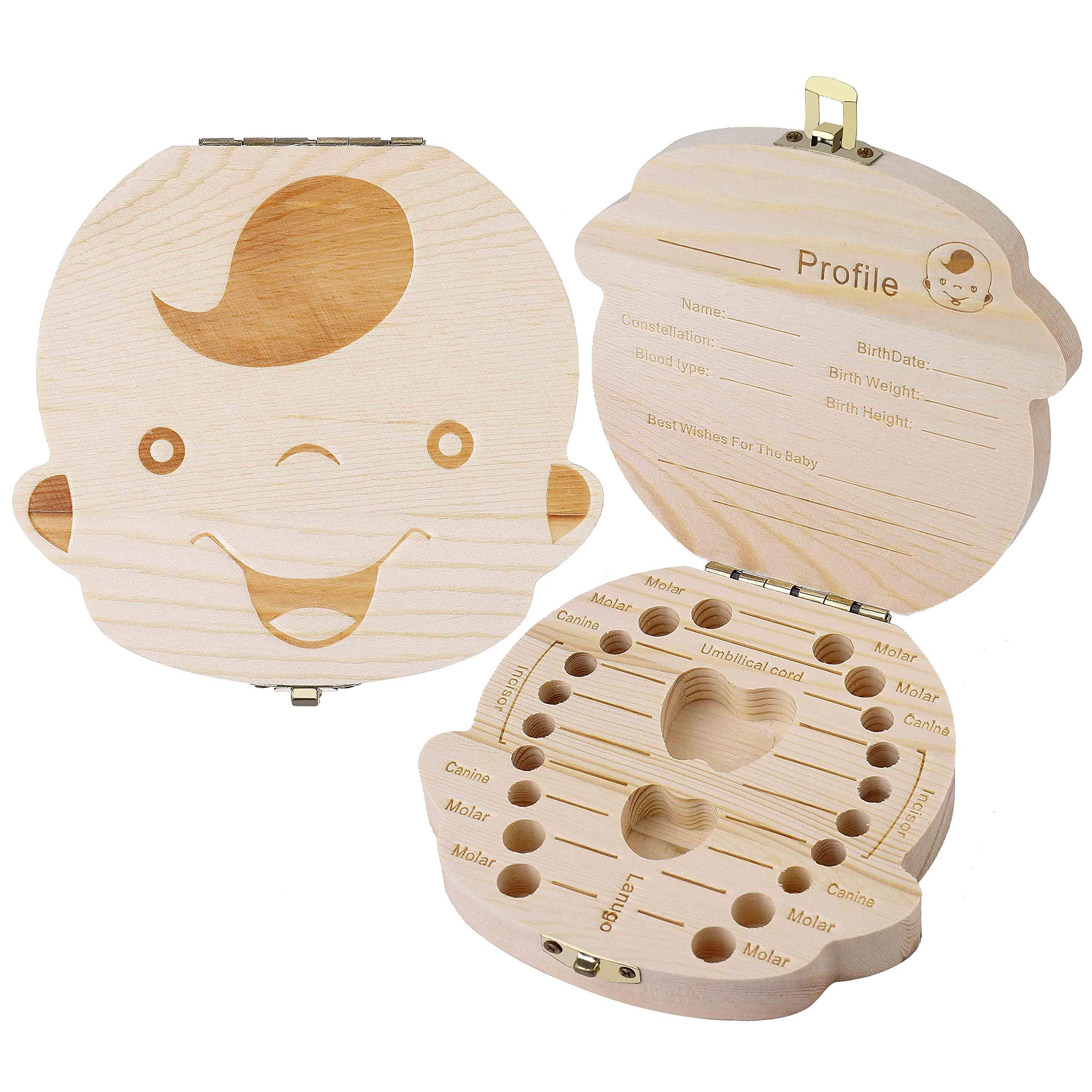 bo/îte de rangement pour dents de b/éb/é Sauvegarder dans une bo/îte de rangement en bois Bo/îte /à souvenirs /à feuilles caduques personnalis/ée Bo/îte /à dents pour enfants