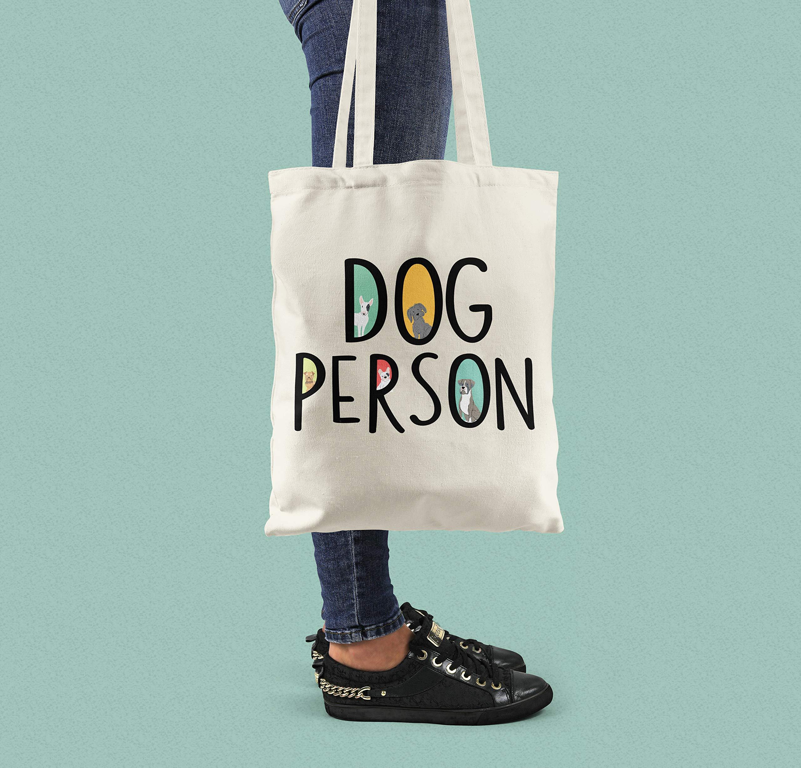 Dog Person Cotton Shopping Tote Bag - handmade-bags