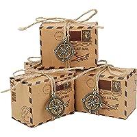 Bomboniere Scatole Regalo, 50pcs Vintage Sacchetto di Caramelle di Carta Kraft Ideale per Confetti, Caramelle…