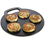KitchenCraft Baking Stone with Non Stick Finish and Recipes in Gift Box, Round, Cast Iron, 27 cm