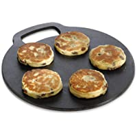 KitchenCraft Baking Stone with Non Stick Finish and Recipes in Gift Box, Round, Cast Iron, 27 cm Diameter ,0.5 cm Thick