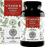 NATURE LOVE® Vitamin B Komplex Forte - Mit 500 µg Vitamin B12 pro Tagesdosis - 180 Kapseln (6 Monate). Mit bio-aktiven…