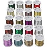 Kurtzy Metallic Polyester Borduurgaren (20 Stuks) - 40 m Geassorteerde Kleuren Glittergaren met Spoel - Strengen Voor Naaimac