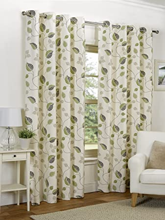 Good Ready Made Green Leaf Design Modern Curtains Full Lined Eyelet Ring Top  [Size 46u0026quot;