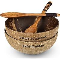 Coconut bowl pack 2 bols en noix de coco recyclées + 2 cuillères en bois exotique, vaisselle écologique, zéro déchet…
