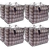 Paquet de 8 sacs à provisions pour la buanderie XX-Large STRONG - Sacs de déménagement XXL avec fermeture à glissière et poig