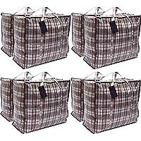 Paquet de 8 sacs à provisions pour la buanderie XX-Large STRONG - Sacs de déménagement XXL avec fermeture à glissière et…