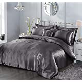 7 Piece Satin Sheets Super Soft Shiny Bedding Sets, 1 x Duvet Cover, 1 x Fitted Bed Sheet, 4 x Pillow Cases, 1 x Cushion Cove