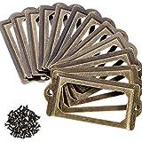 AMACOAM Label Card Frame Houder Boekenkasten Plank Ladekast Antiek Brons Metalen Etikethouder Deurknop voor Naam Platen Apoth