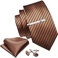 Barry.Wang Cravatta da uomo in seta con fazzoletto e gemelli, set di cravatte a strisce, set di cravatte per matrimonio