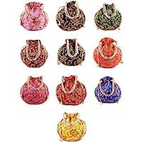BINORI FASHIONS Rajasthani Style Royal Clutch Silk Batwa Bag Combo Khajoor Wristlets Ethnic Potli Combo For Women's Zari…