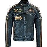 Gallanto Mens British Motorcycle Black Blue Tone Wax Leather Badges Jacket Biker Tan Green Striped