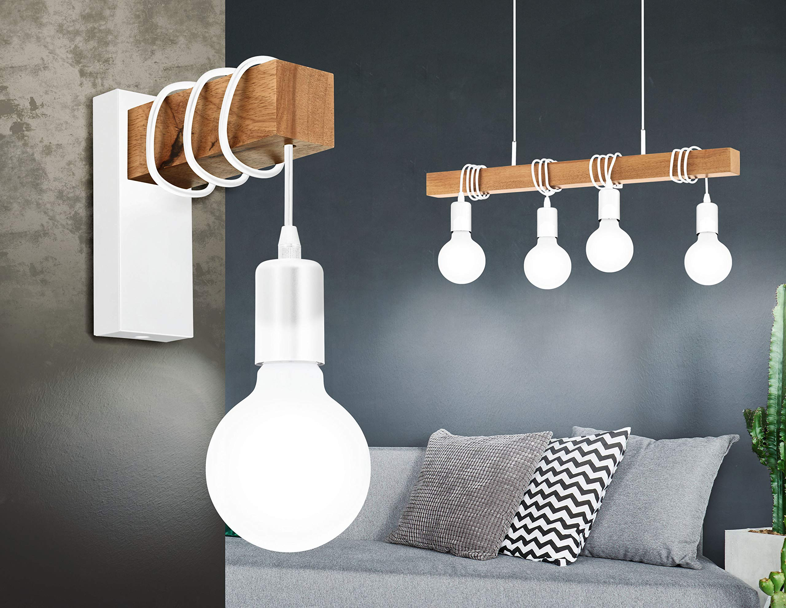EGLO Townshend illuminazione da parete Adatto per uso interno Bianco, Legno E27